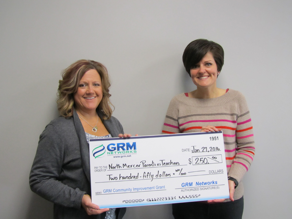 Pictured from left to right: PAT teacher Carolyn Purdun and GRM Networks® CSR Lucretia Coon.