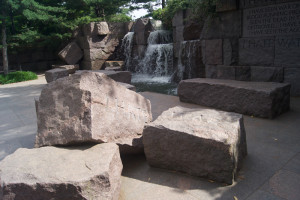 """Stones within the Franklin D. Roosevelt memorial with the words """"I Hate War"""" inscribed."""