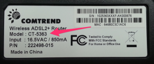 Comtrend 5363 Label