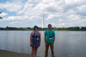 Haize and Dale with a view of the Washington Monument.